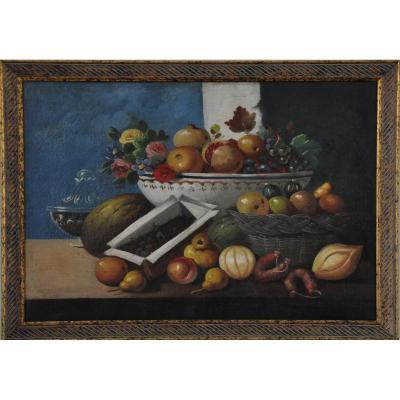 Fruits et Légumes  Ecole Espagnole Nature Morte Fin XVIIIème