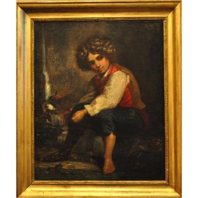 Young Boy Near A  Waterfall Italian School 19th Century