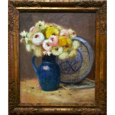 Bouquet In Blue Vase Signed Léopold Widliczka 20th Century