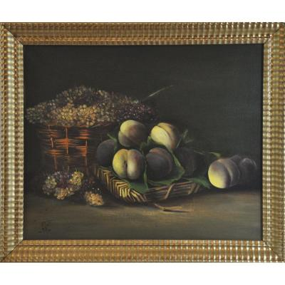 Peaches And Currants Still Life Signed Cf 1893  XIXth Century