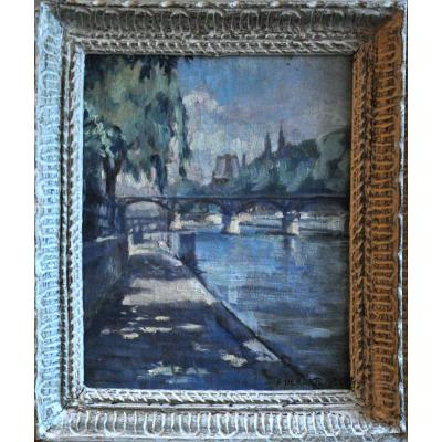Ponts De Paris Oil On Canvas Signed Albert Maurice Dekorte Twentieth Century