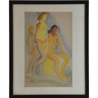 Three Women Watercolor Signed Ferdinand Tholy XXth Century