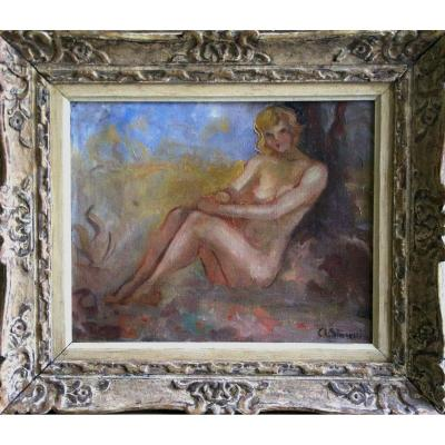 Sitting Nude  Oil On Canvas Signed Charles Stoecklin 19th Century