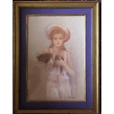 Young Girl With A Cat  Pastel Signed Bernard Peltriaux 20th Century
