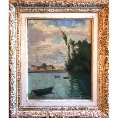 The Seine Riverside  Oil On Canvas Signed Léon Laurent Galand Twentieth Century