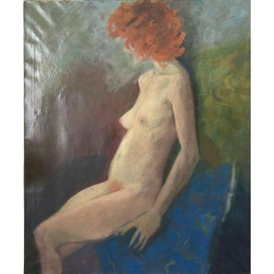 Portrait d'Une Femme Rousse Huile Sur Toile Signée Luc Maes Datée 1977  XXème Siècle