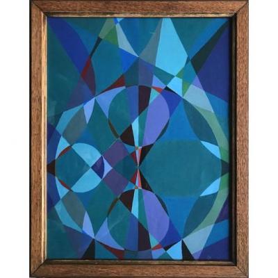 Composition Géométrique, Gouache Sur Papier, XXème Siècle