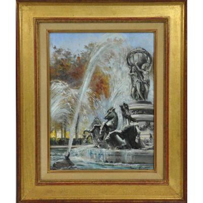Fountain Of The Observatory, Oil On Canvas Signed Charles Blondin XXth Century