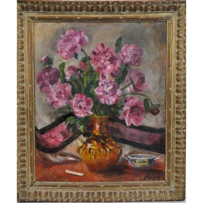 Bouquet Of Pink Peonies, Oil On Canvas Signed Luce, 20th Century