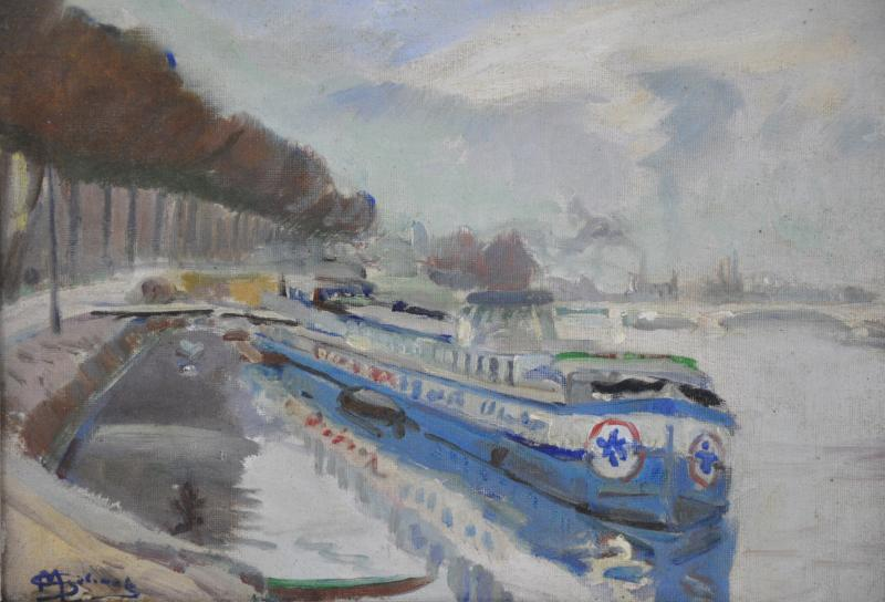 Barges At The Quay Oil On Canvas Signed Marcel Gelinet 20th Century-photo-2