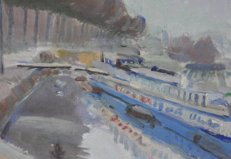Barges At The Quay Oil On Canvas Signed Marcel Gelinet 20th Century-photo-4