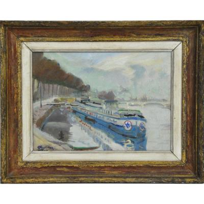 Barges At The Quay Oil On Canvas Signed Marcel Gelinet 20th Century