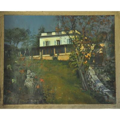 House And Garden, Acrylic On Canvas, Signed, 20th Century