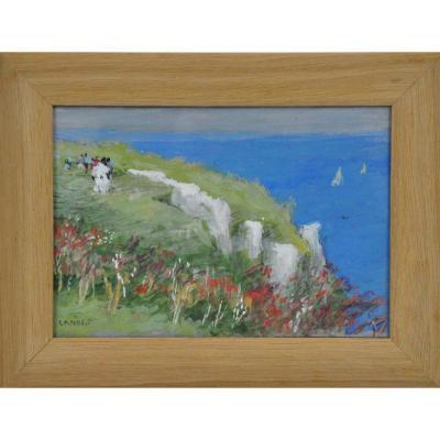 "Etretat ""walk On The Cliff"" Gouache Signed Lanos 19th Century"