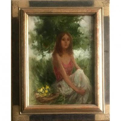 Young Girl Sitting Oil On Canvas Italian School XXth Century