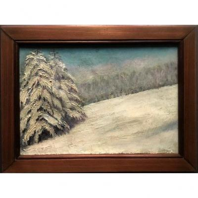 Landscape Under The Snow Oil On Canvas Late Nineteenth Century