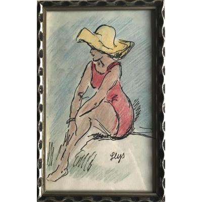Young Woman With The Yellow Capeline, Signed Leys Circa '50