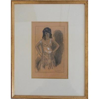 La Gitane Drawing Charcoal And Gouache Signed Dignimont Twentieth Century
