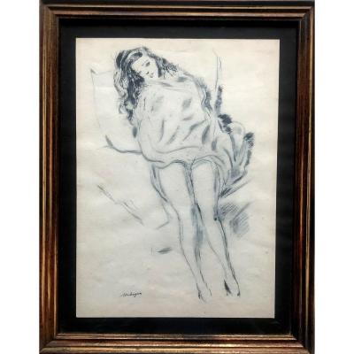Young Woman Resting  Drawing  Ink On Paper Signed Touchagues Twentieth Century