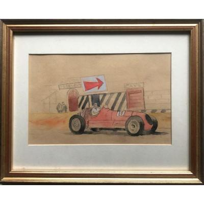 Race Car, Pencil And Watercolor In The Spirit Of Geo Ham Twentieth Century