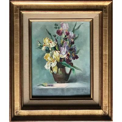 Bouquet Of Yellow And Purple Iris Oil On Panel Signed Pierre Jean Meulenaere Dated 1910