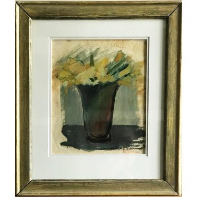 Bouquet Of Daffodils Oil On Paper Signed Madeleine Scellier Twentieth Century