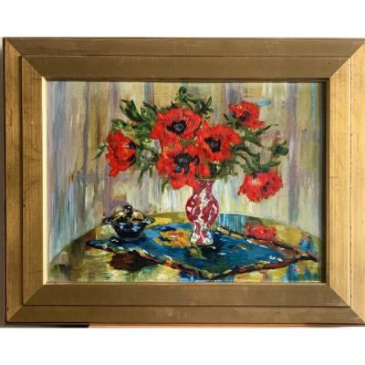 The Poppies, Oil On Panel Signed Madeleine Scali Dedicated On The Back XXth Century