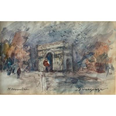 Paris, l'Arc De Triomphe Aquarelle Sur Papier Signée Georges Edmond Dargouge XXème Siècle