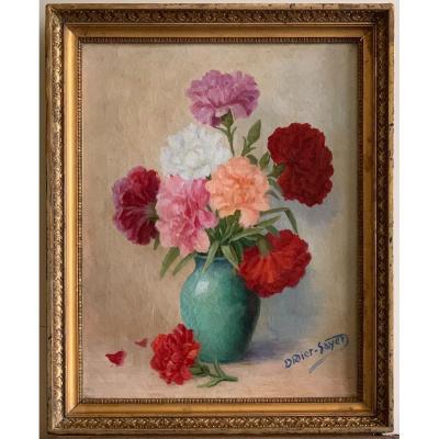 Bouquet d'Oeillets Huile Sur Toile Signée Didier Sayet Ecole Française Circa 1930
