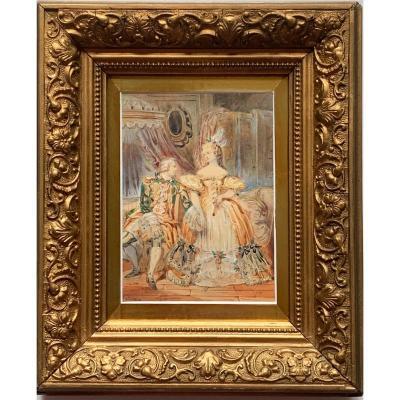 Scène Galante Aquarelle Datée 1840 Dans Le Goût Du XVIIIème Siècle