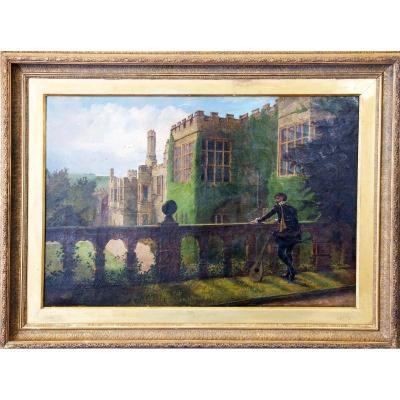 Haddon Hall Château Médiéval Anglais Huile Sur Toile Monogrammée Et Datée 1886