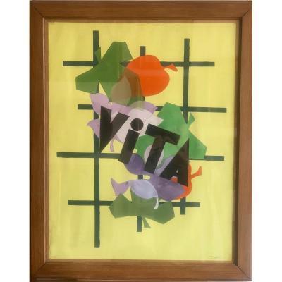 Projet d'Affiche Pour Vita Gouache Signée Mario Mazzoni Circa 1950