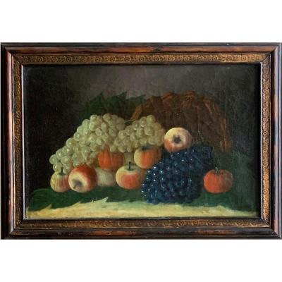 Nature Morte Aux Fruits Signée Jean-claude Dumont Huile Sur Toile XIXème Siècle