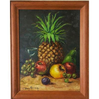 l' Ananas Nature Morte Huile Sur Panneau Ecole Belge XXème Siècle