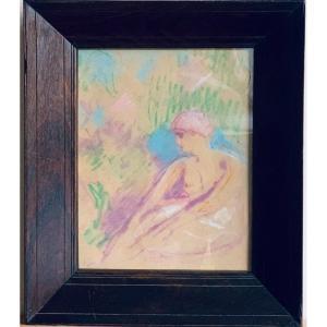 Jeune Femme Esquisse Pastel Circa 1940