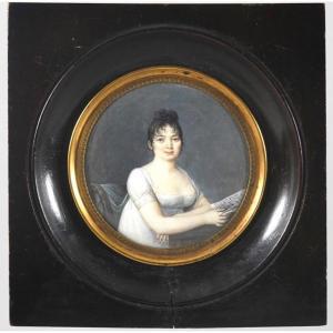 Portrait Miniature Dans Le Genre De Juliette Récamier