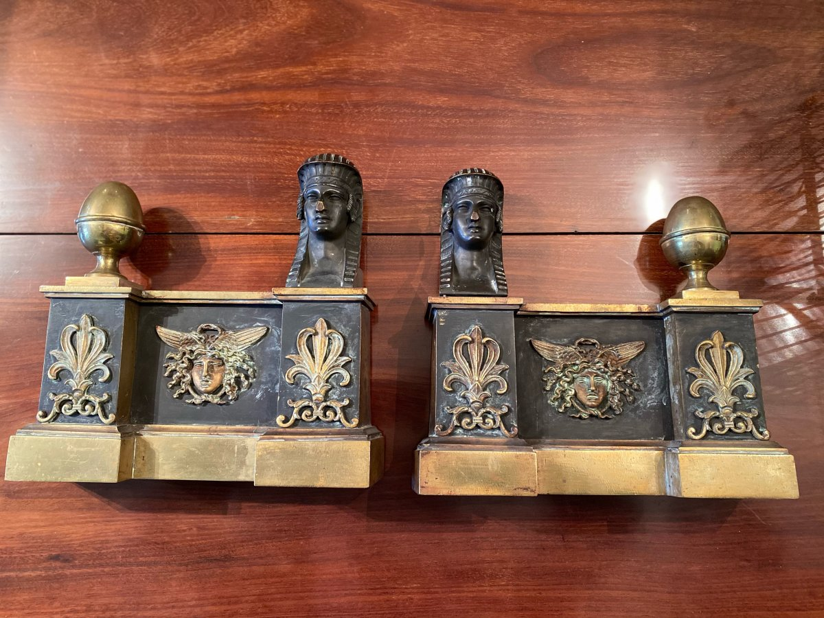 Pair Of Heads Of Andirons With Sphinxes, Empire Period