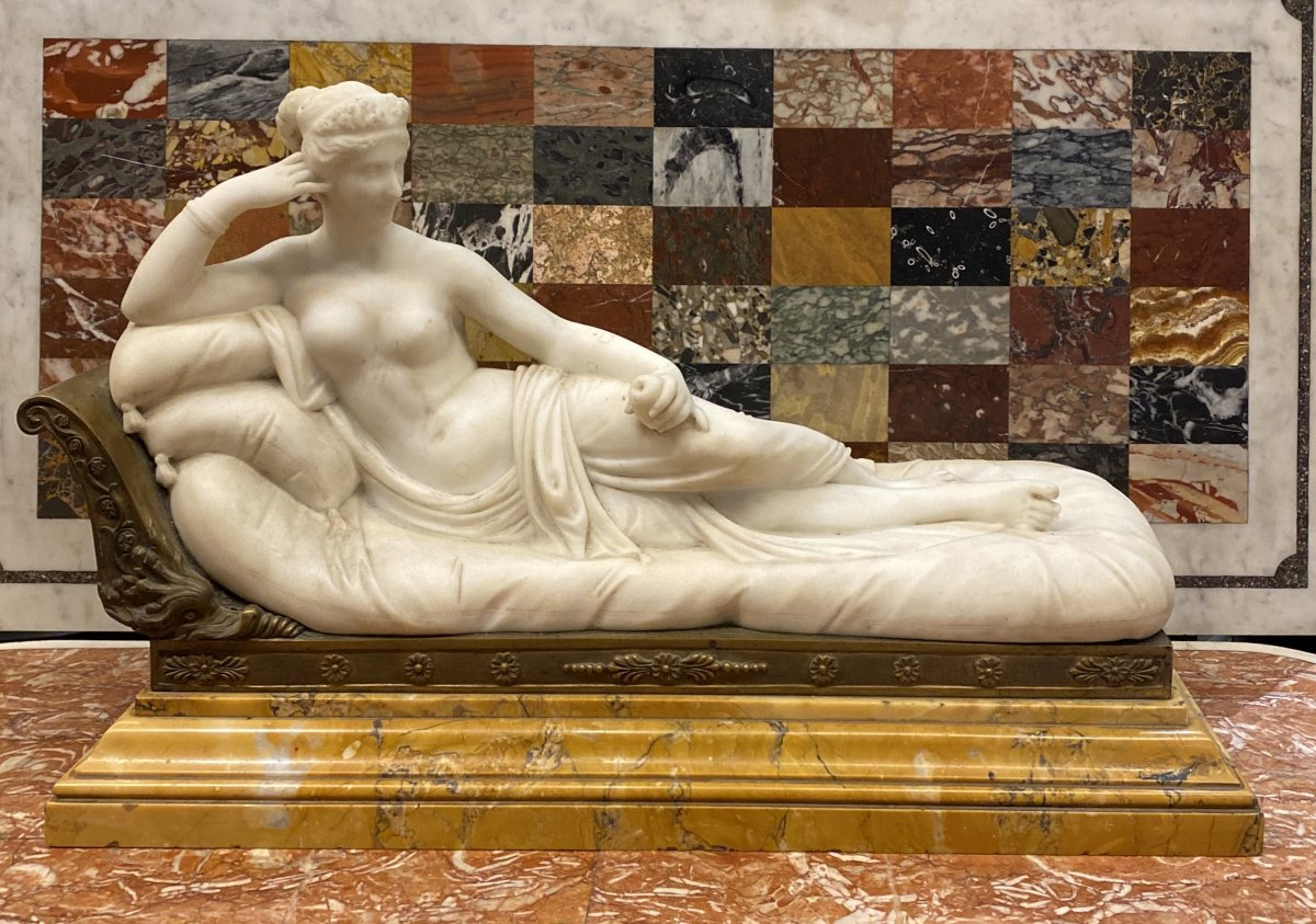 Large Marble Representing Pauline Borghese, 19th Century