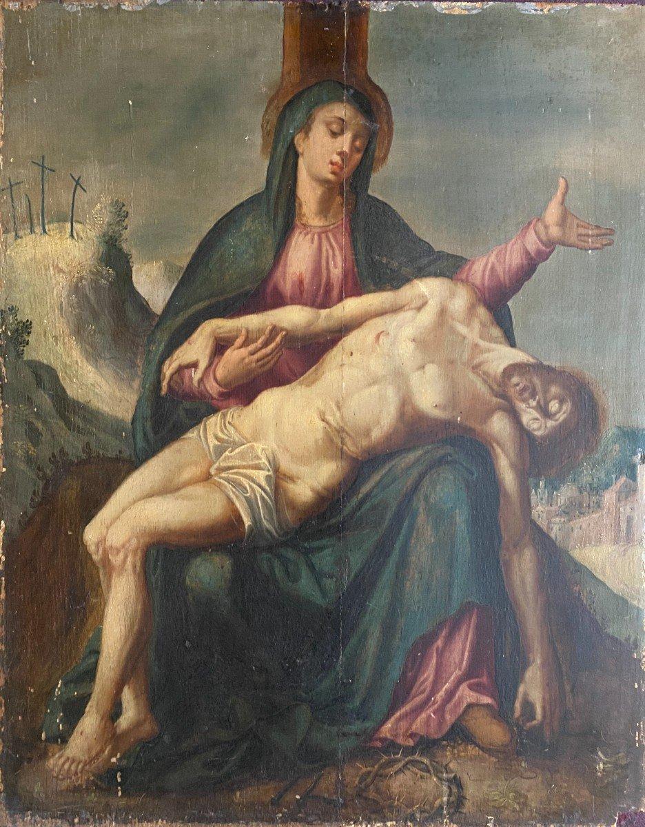 Pietà  , huile sur panneau de chêne , début 17ème siècle