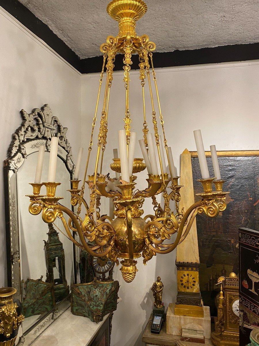 important lustre en bronze doré , époque Restauration