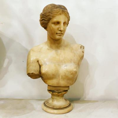 Neoclassical Alabaster Bust Of A Woman .circa 1800