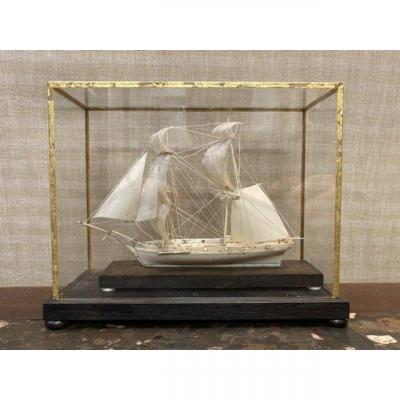 Model Of An Ivory Schooner, Dieppe 19th Century