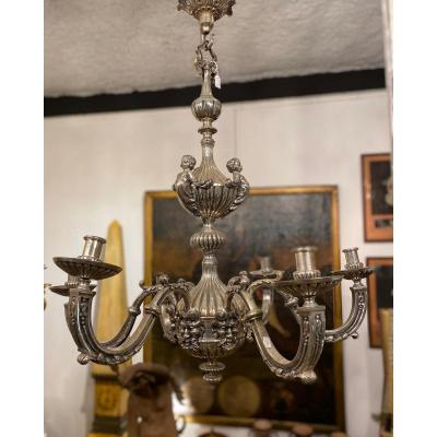 Louis XIV Style Chandelier In Silver Plated Metal. 19th Century