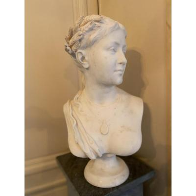 """""""ceres"""" Marble Bust Signed Arcini Circa 1870"""
