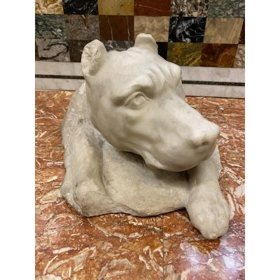 Marble Dog Head In The Taste Of The Antique XIXth Century