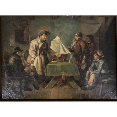"""Tableau """" matelots """" huile sur toile vers 1830"""