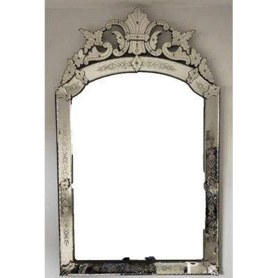 Large Venetian Glass Mirror Around 1900, Height 163cm