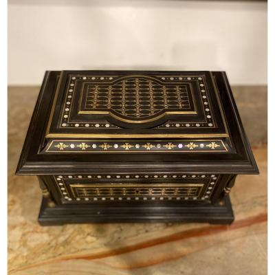 Ebony Box With Brass And Mother-of-pearl Inlay, Signed 19th Century Masson