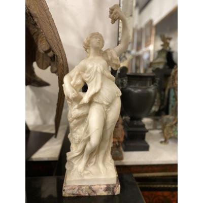 White Marble Sculpture, Allegory Of Autumn Neoclassical Style