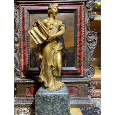 Allégorie de la lecture , bronze doré XVIIème siècle